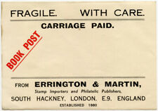 Stamp Dealer Book Post Paid Label c1930 Errington + Martin Printed Rate.L3