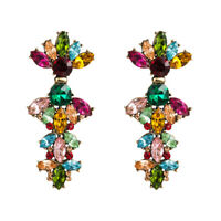 1 Pair Elegant Women Crystal Rhinestone Ear Drop Dangle Stud long Earrings