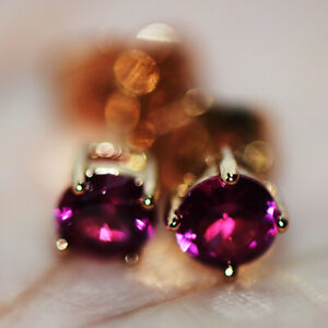 Small Tiny Red Ruby Stone Stud Earrings for Womens Girls Lovely Jewelry Gold