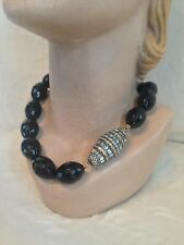 HEIDI DAUS Large Black Bead, Crystal Side Station Necklace