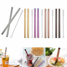 8x Reusable Stainless Steel Metal Drinking Straw Straws Bent Washable+2x Brushes
