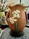 Beautiful Roseville iris vase 9x7 repo