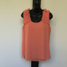'NICOLA FINETTI' EC SIZE '12' ORANGE SLEEVELESS LINED TOP WITH FRILL ARMS