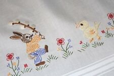 Easter Bunny Attacks Chick With Pussywillow! Vtg German Hand Emb Tablecloth