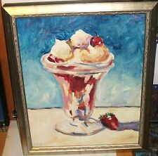 A,AUSTIN STRAWBERRY SUNDAY IN A GLASS ORIGINAL OIL ON CANVAS PAINTING
