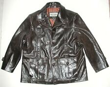 M. Julian Men's Brown Distressed Leather Car Coat Jacket, Sz XL
