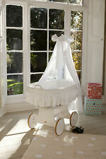 Wicker Crib Moses Basket Lulu Due White (Cot Bed) with Snuggle Pod!MJMARK *