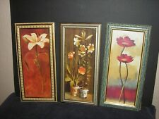 "3 Piece Framed Picture Set, Flowers, Good Condition, 16 1/2"" X 5 1/2"""