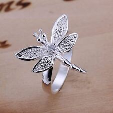 *UK* 925 SILVER PLT DRAGONFLY CLEAR CRYSTAL STATEMENT BAND RING BUTTERFLY THUMB