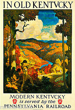 1930s In Old Kentucky Pennsylvania Railroad Travel Advertisement Art Poster