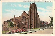 Beeson Avenue and Asbury M.E. Church in Uniontown PA Postcard