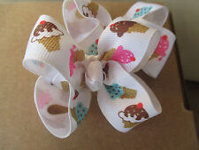 """Hair Bows Two Med 2"""" Summer Icecream Cones of all kinds two scoop Hair Bows USA"""