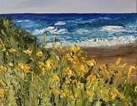 California Coast Flowers Oil On Canvas 8 X 10 Impasto Texture