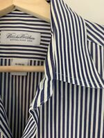 Brooks Brothers Mens Button Down Shirt Size 15-34/35 Blue White Stripe Cotton