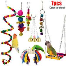 7 Piece Parrot Swing Bell Hanging Bird Cage Perch Toys Parakeet Cockatiel Budgie