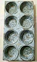 Vintage Graniteware Enamel Gray Blue Muffin Pan Tin