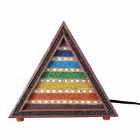 Multi Gemstone Seven Chakra Wooden Table Lamp Bulb Not Included -Brown