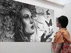Large Urban princess Street art canvas Australia face girl abstract butterfly