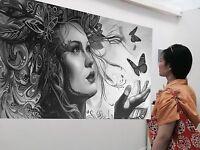 200cm Urban princess Street art canvas  Australia face girl abstract butterfly