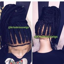 FULL LACE blk braided ponytail 3cube twists French braid wig
