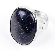 R078E Ring versilbert mit Lapislazuli blau größenverstellbar