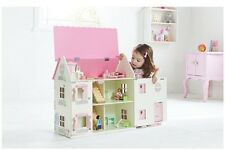 Wooden Kids Doll House With Furniture & Staircase Fits Barbie Dollhouse Play Fun
