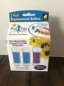 3 Pack of ReplacementRollers PedEgg Cordless Electric CallusRemoverNanoAbrasion