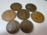 lot Vintage Lot of 5 British Large Pennys and 2 half pennys