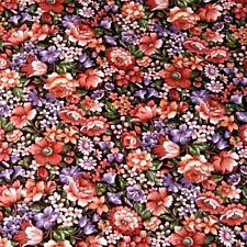 Cotton Fabric, Peach & Purple Packed Floral by Cranston Per 1/2 Yd