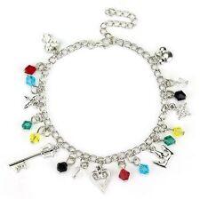 Kingdom Hearts Charm Bracelet Disney Keyblade Heart Trinity Crown Mickey Mouse