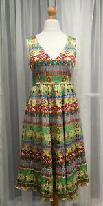 Boho Festival Hippy Size 12 Silk Dress fully lined