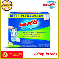 DampRid FG97 Refillable Drop in Tab Moisture Absorber Fresh Scent 2 Tabs Fresh