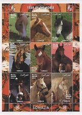 CHINESE HOROSCOPE YEAR OF THE HORSE ANIMAL SOMALIA 2002 MNH STAMP SHEETLET