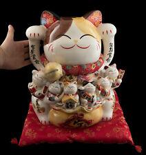 Großer Katze Japanische Maneki Neko 36 CM Aus Porzellan Und Famille De Kätzchen