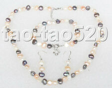 adjustable Multi-color white pink black pearl necklace bracelet Earring set k9