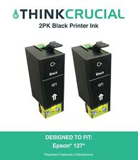 2 Replacement Black Toner Ink Cartridge Fits Epson 127, by Think Crucial