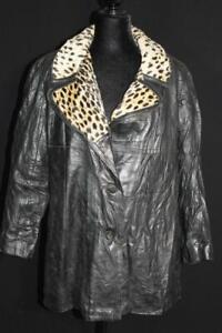 RARE VINTAGE 1960'S WOMAN'S BLACK LEATHER COAT FAUX LEOPARD LINED SIZE LARGE