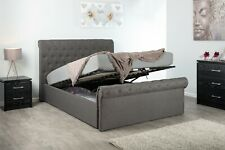 FABRIC OTTOMAN STORAGE SLEIGH BED FRAME DOUBLE OR KING SIZE BEDROOM FURNITURE