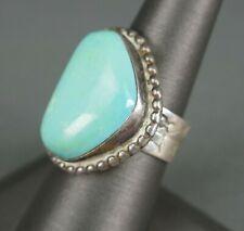 Vtg Old Zuni Indian Sterling Silver Turquoise Stamped Symbols Ring Size 8