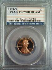 New listing 1999-S Pcgs Us Mint Lincoln Memorial Cent Pr69 Rd Dcam Rare Flag Label