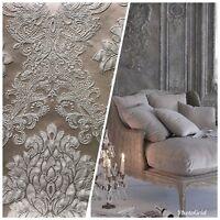 SWATCH Designer Brocade Satin Fabric- Gray On Gray- Upholstery Damask