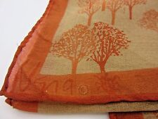 Vintage Vera Scarf Ladybug Trees Rust Beige Tan 60s Sheer Vinal Silk Blend Japan