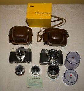Kodak Retina Reflex S + Retina IIIs body + 5 lens + Box+ 2x cases SET -- Exc++