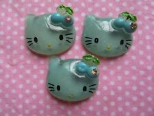 20 Glitter Resin Hello Kitty Flatback Button w/Cherry Flatback-Blue