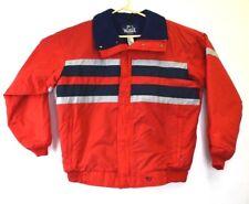 Woolrich Vintage Men's Large L Red Stripes Coat Large Heavy Winter Jacket 80s