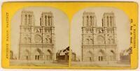 Notre-Dame De Paris Façade Foto Stereo PL55L5n Vintage Albumina c1875