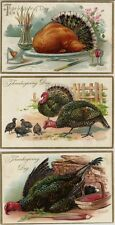 3 Old Fancy Tuck's Thanksgiving Postcards By Artist R.J. Wealthy