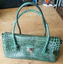 WILSONS LEATHER Handbag Pelle Studio Alligator Crocodile Print Green Leather