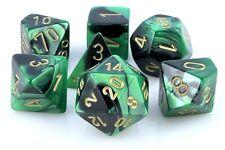 Dungeons & Dragons Fantasy 16mm 7 Piece Dice Set: Gemini Black Green 26439