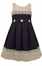 Bonnie Jean Easter Special Occasion Girls Lace Trimmed Navy Floral Dress 4-16